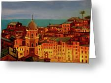 Vernazza Twilight Greeting Card