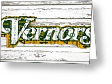 Vernors Beverage Company Recycled Michigan License Plate Art On Old White Barn Wood Greeting Card