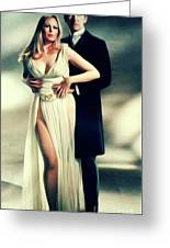 Veronica Carlson And Peter Cushing Greeting Card