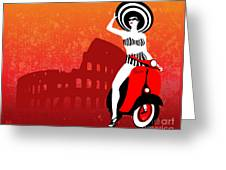 Vespa Girl Greeting Card