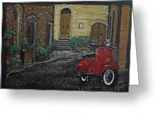 Vespa In The Rain Greeting Card by Richard Le Page