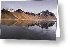 Vestrahorn Mountain In Stokksnes Iceland Greeting Card