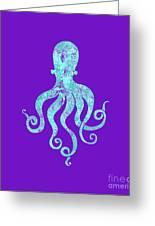 Vibrant Blue Octopus Beach House Coastal Art Greeting Card