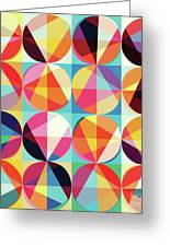 Vibrant Geometric Abstract Triangles Circles Squares Greeting Card