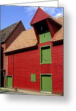 Vibrant Red And Green Building Greeting Card