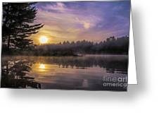 Vibrant Sunrise On The Androscoggin River Greeting Card
