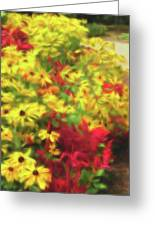 Vibrant Yellow Daisies And Red Garden Flowers Greeting Card