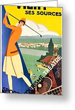 Vichy, Sport Tourism, Woman Play Golf Greeting Card