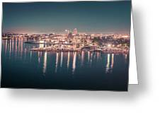 Victoria British Columbia City Lights View From Cruise Ship Greeting Card