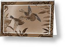 Victorian Birds In Sepia Greeting Card