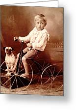 Victorian Boy With Pug Dog And Tricycle Circa 1900 Greeting Card