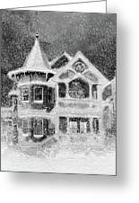 Victorian Christmas Black And White Greeting Card
