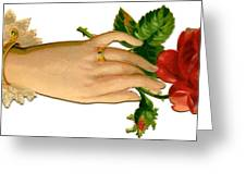 Victorian Hand And Rose Greeting Card