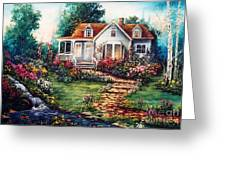Victorian House With Gardens Greeting Card