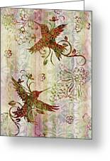 Victorian Humming Bird Pink Greeting Card by JQ Licensing