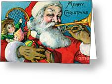 Victorian Illustration Of Santa Claus Holding Toys And Blowing On A Trumpet Greeting Card