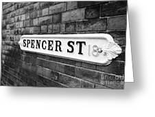 victorian metal street sign for spencer street on red brick building in the jewellery quarter Birmin Greeting Card
