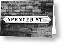 Victorian Metal Street Sign For Spencer Street On Red Brick Building In The Jewellery Quarter Greeting Card