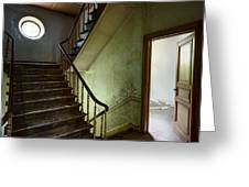 Victorian Staircase At Deserted Castle - Urban Decay Greeting Card