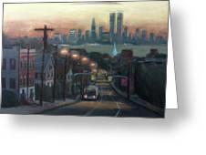Victory Boulevard At Dawn Greeting Card by Sarah Yuster
