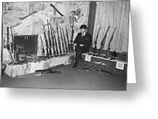 Viet Nam Vet John Dane With His Weapons Collection American Fork Utah 1975 Greeting Card