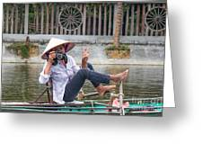 Vietnamese Lady Photographer At Tam Coc Greeting Card