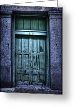 Vieux Carre' Doorway At Night Greeting Card