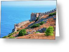 View Far Out To Sea From Alanya Castle Greeting Card