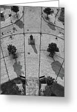 View From A Church Tower Monochrome Greeting Card