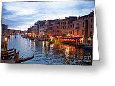 View From Rialto Bridge Of Venice By Night. Greeting Card