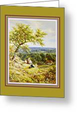 View From The Hill On The Village Below. P B With Decorative Ornate Printed Frame. Greeting Card