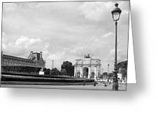 View From The Louvre In Black And White Greeting Card