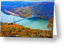 View From Top Of Bear Mountain Of Bear Mountain Bridge Greeting Card