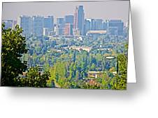 View From Wealthy Neighborhood In Hills Of Santiago-chile Greeting Card