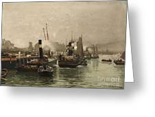 View Of A Dutch Harbour Greeting Card
