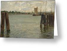 View Of A Harbour On The North Sea Greeting Card