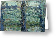 View Of Arles, Flowering Orchards Greeting Card