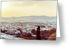 view of Buildings around Athens city, Greece Greeting Card
