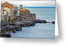 View Of Cefalu Sicily Greeting Card