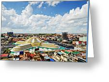 View Of Central Market Landmark In Phnom Penh City Cambodia Greeting Card