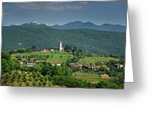 View Of Church Of The Holy Cross In Kojsko And Sveta Goro Holy M Greeting Card