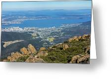 View Of City From Mountain Top Greeting Card