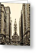 View Of Cityhall From Broad Street In Philadelphia Greeting Card by Bill Cannon