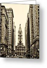 View Of Cityhall From Broad Street In Philadelphia Greeting Card