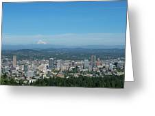View Of Downtown Portland Oregon From Pittock Mansion Greeting Card