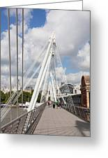 View Of Golden Jubilee Bridge, Thames Greeting Card