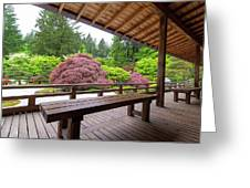 View Of Japanese Garden From The Veranda Greeting Card