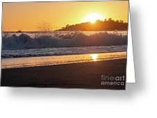 View Of Large Fishing Boat From The Beach At Sunset Greeting Card