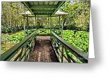 View Of Lily Pads From Gazebo By Kaye Menner Greeting Card