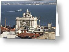 View Of Lisbon Harbor Greeting Card